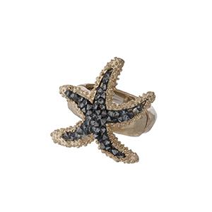 Gold tone starfish, stretch ring.