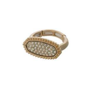 Gold tone stretch ring, accented with clear rhinestones.