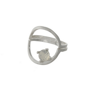 Dainty silver tone, two piece ring with an opal stone. Approximately a size 7.