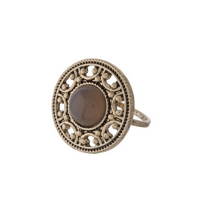 Gold tone ring with a gray stone focal. One size - approximately a size 7.