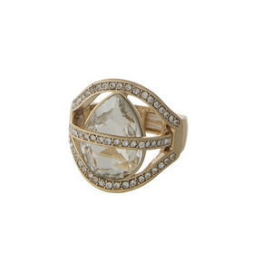Gold tone stretch ring with clear rhinestones.
