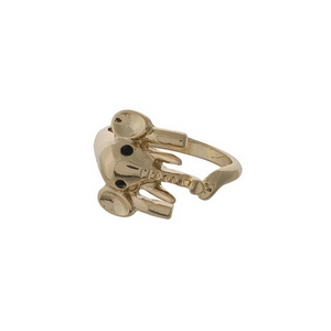 Gold tone, one size elephant ring. Adjustable in width.