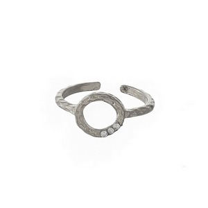 Hammered brass, silver tone, adjustable ring with a circle focal, accented with three small rhinestones.