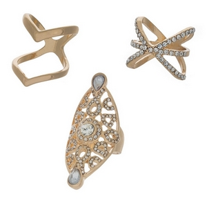 Three piece ring set with clear rhinestones. All rings are one size, approximately a size 7.