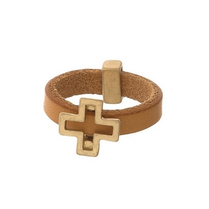 Brown, genuine leather ring with a gold tone cross. Ring is a size 7.