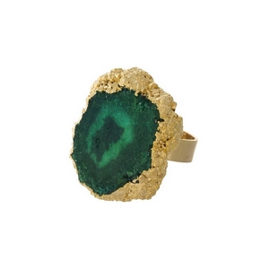 Gold tone adjustable ring with a green druzy stone.