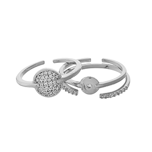 Silver tone, three piece adjustable ring set with clear pave rhinestones.