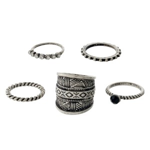 Five piece, bohemian ring set. All rings are a size 7.