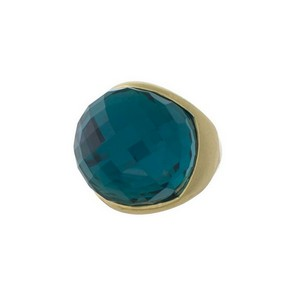 Burnished gold tone ring with a faceted green stone. One size - size 8.