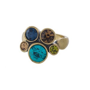 Burnished gold tone ring with multicolored, circle rhinestones. One size - size 9.