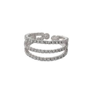 Three row, adjustable ring with clear rhinestones.