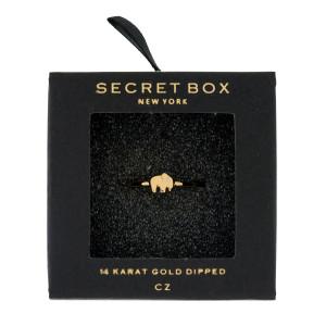 Secret Box 14 karat gold over brass, open, elephant ring. Adjustable in size.