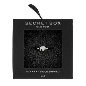Secret Box 24 karat white gold over brass, open, elephant ring. Adjustable in size.