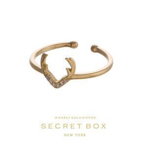 Secret Box 14 karat gold over brass, open, antler ring. Adjustable in size.