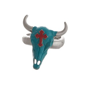 Burnished metal, stretch ring with a steer head focal and cross accent.