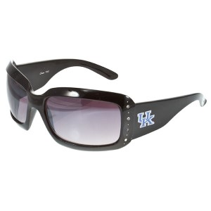 Officially licensed black wide rim sunglasses with a row of clear crystal rhinestones featuring the Kentucky logo.
