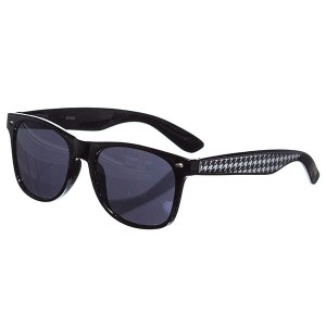 Black frame sunglasses with a houndstooth trim.