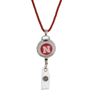 """Officially licensed University of Nebraska lanyard and ID holder with a break-away cord. Approximately 32"""" in length."""