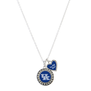 "18"" silver tone necklace featuring a Kentucky logo and a heart shaped charm inscribed with ""Go Big Blue"""
