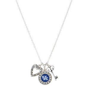 "18"" silver tone necklace featuring a Kentucky logo, a heart shaped charm, and a key"