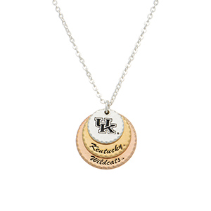 "Silver tone collegiate necklace featuring three mixed metal disk stamped ""UK,"" ""Kentucky,"" and ""Wildcats."" Approximately 17"" in length."