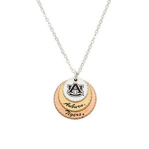 "Silver tone officially licensed collegiate necklace featuring three mixed metal disk stamped ""AU"", ""Auburn"", and ""Tigers"". Approximately 17"" in length."