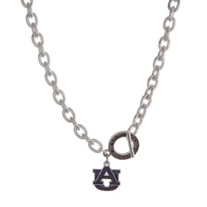 """Silver tone officially licensed Auburn University toggle necklace with the logo charm. Approximately 18"""" in length."""