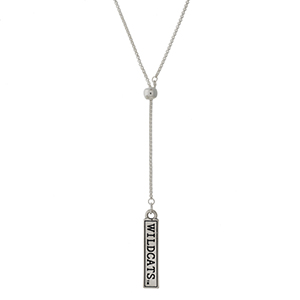 "Officially licensed, silver tone 'Y' necklace with a bar pendant stamped with ""Wildcats."" Adjustable up to 28"" in length."