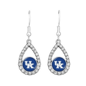 "Silver tone 1"" tear drop earrings with officially licensed University of Kentucky logo and crystal trim on fish hooks."