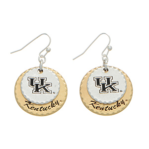 "Silver tone officially licensed fishhook earrings featuring two mixed metal disk stamped ""UK"" and ""Kentucky"". Charm approximately 1"" in length. Overall length 1 9/16""."