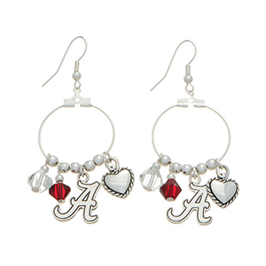 """Silver tone officially licensed fishhook earrings featuring Alabama charm. Approximately 1"""" in length."""