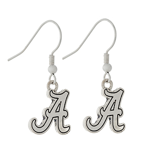 """Silver tone official licensed University of Alabama earrings. Charm approximately 1/2"""" in length. Overall length 1 1/4""""."""