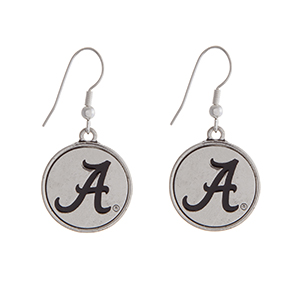 """Officially licensed University of Alabama silver tone fishhook earrings with a circle logo. Approximately 2"""" in length."""