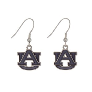 "Silver tone officially licensed Auburn University earrings displaying the logo. Approximately 1"" in length."