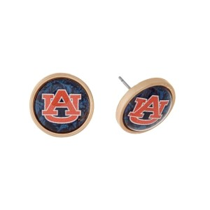 "Gold tone officially licensed Auburn University stud earrings. Approximately 2/3"" in length."