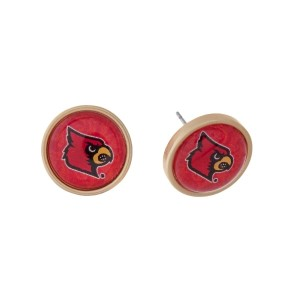 "Gold tone officially licensed University of Louisville stud earrings. Approximately 2/3"" in length. Our exclusive design."
