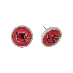 "Silver tone officially licensed University of Louisville stud earrings. Approximately 2/3"" in length. Our exclusive design."