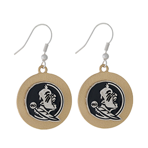 "Officially licensed, two tone fishhook earrings with the Florida State University logo. Approximately 1"" in diameter."