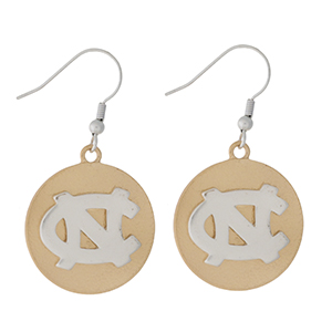 "Officially licensed, two tone fishhook earrings with the University of North Carolina logo. Approximately 1"" in diameter."
