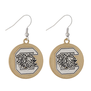 "Officially licensed, two tone fishhook earrings with the University of South Carolina logo. Approximately 1"" in diameter."