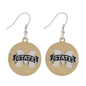 "Officially licensed, two tone fishhook earrings with the Mississippi State logo. Approximately 1"" in diameter."