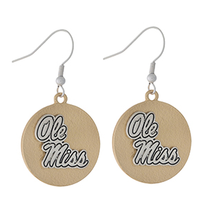 "Officially licensed, two tone fishhook earrings with the University of Mississippi / Ole Miss logo. Approximately 1"" in diameter."