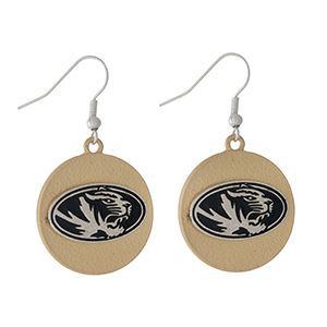 "Officially licensed, two tone fishhook earrings with the University of Missouri logo. Approximately 1"" in diameter."