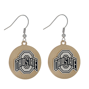 "Officially licensed, two tone fishhook earrings with the Ohio State logo. Approximately 1"" in diameter."