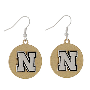 "Officially licensed, two tone fishhook earrings with the University of Nebraska logo. Approximately 1"" in diameter."