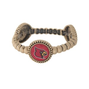 Officially licensed gold tone University of Louisville stretch bracelet with three stations. Our exclusive design.