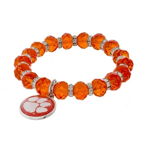 Officially licensed, Clemson University stretch bracelet with clear rhinestone accents and a logo charm.