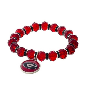 Officially licensed, University of Georgia stretch bracelet with clear rhinestone accents and a logo charm.