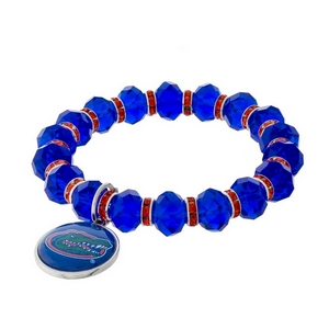 Officially licensed, University of Florida stretch bracelet with clear rhinestone accents and a logo charm.