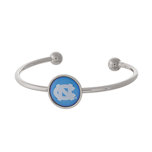 Officially licensed, silver tone cuff bracelet with the University of North Carolina logo.